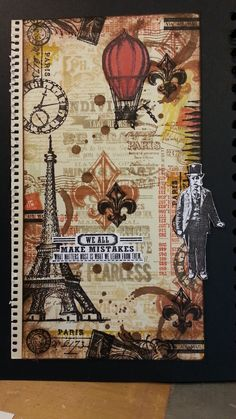 background collage stamping layout - with new stamps from tim holtz - cha 2013 -
