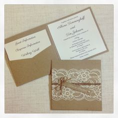 Lace Rustic Wedding Invitations Kraft Wedding Invitation Set