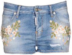 Short en jean bleu brodé de fleur blanche, Dsquared2