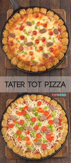 Tater tots take center stage with this tater tot pizza. No need to wrestle with dough, just line your dish with tots and add your favorite sauce and toppings for a crowd pleasing pie. Best Breakfast Casserole, Breakfast For A Crowd, Pizza Casserole, Breakfast Pizza, Breakfast Recipes, Breakfast Ideas, Tater Tot Recipes, Pizza Recipes, Gourmet Recipes