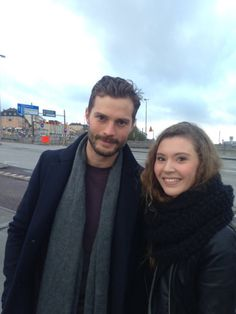 Jamie with a fan in Stockholm