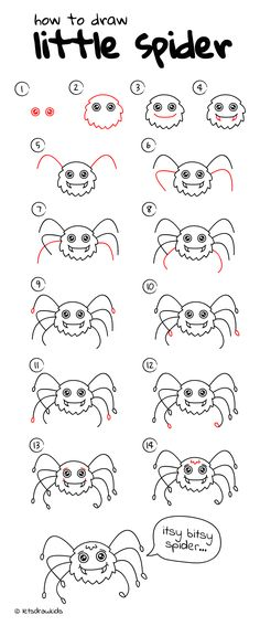 How to draw Little Spider. Easy drawing, step by step, perfect for kids! Let's draw kids. http://letsdrawkids.com/
