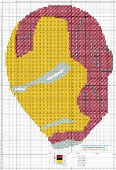 Dibujos Punto de Cruz Gratis: Mascara Iron Man - Cross Stitch Punto de Cruz