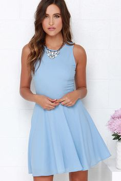 Just slip into the Dee Elle At Ease Light Blue Skater Dress and let it show you how easy it is to be breezy! Woven fabric shapes a rounded neckline atop a fitted, sleeveless bodice with princess seams and a hidden zipper at back. Flaring skater skirt descends from the fitted waist, creating a playful shape. Fully lined. 100% Polyester. Hand Wash Cold. Made With Love in the U.S.A.