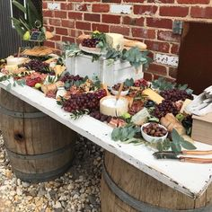 Wedding reception buffet table wine barrels Ideas for 2019 Cheese Table Wedding, Wedding Buffet Food, Wedding Catering, Food Buffet, Wine Wedding Cakes, Wedding Receptions, Wedding Buffet Tables, Wedding Buffets, Catering Table