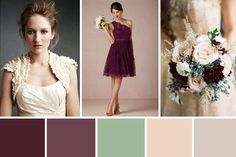 A plum, sea-foam and nude wedding colour palette for a bride in need of some inspiration choosing accessories to match her bridesmaid's plum dresses...