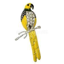 Gelb Papagei Stil Brosche Glänzend Tuchclip für Herren & Damen Mode Schmuck