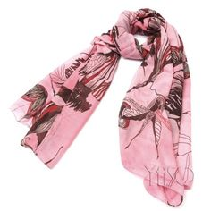 Pink Begonia Flower Ink Style Long Cotton Neck Scarf Shawl