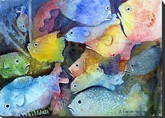 Watercolor wash with salt and saran wrap, then negative painting to bring out the fish.