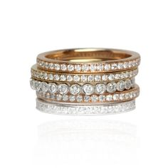 Thin, stackable diamond eternity bands in white, yellow and rose gold by Oliver Smith Jeweler. Oliver Smith, Thin Diamond Band, Girls Jewelry Box, Trendy Fashion Jewelry, Eternity Bands, Diamond Are A Girls Best Friend, Gold Bands, Femininity, Strands