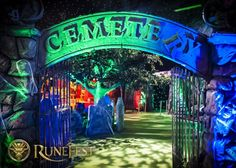 Stone Cemetery Gates Entranceway | Halloween Party Theme | Halloween Party Theming Hire | Event Prop Hire