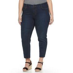 Plus Size Croft & Barrow® Skinny Ankle Jeans, Women's, Size: 24W T/L, Dark Blue