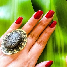 Vintage Royal Collection Copy .Antique Designer Ring.Golden plated metal Ring with Black designed Flowers artwork spreaded around the Oval shaped Ring.