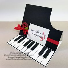 """Million Sales Achiever Stamp Set: Music from the Heart 17 """"Music from the Heart"""" samples by Dawn Olchefske, Stampin' Up! Million Sales Achiever – coming Jan 2020 Stampin Up Anleitung, Stampin Up Karten, Stampin Up Cards, Fancy Fold Cards, Folded Cards, Musical Cards, Alphabet Stamps, Up Music, Shaped Cards"""