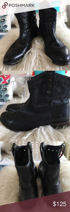 Black Frye cowboy ankle boots Frye black leather ankle boots with grommets. Beautiful and classic in style. Made in Mexico. Used but that makes them look even better!  Perfect and essential to any closet! Frye Shoes Ankle Boots & Booties