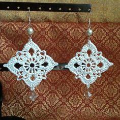 Diamonds are Forever crochet earrings in white by WildsGifts, $30.00
