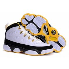 Air Jordan Shoes 9 in Ghost White Black Yellow [Air Jordan Shoes 9 in... ❤ liked on Polyvore