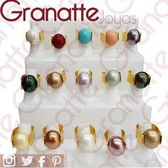 Anillos perla shell   Visita nuestra tienda. Somos importadores directos. Envíos a todo el país. #pearlRing #perlashell #nacar #goldfilledjewelry #ring #anilloperla #treelife #goldfilled