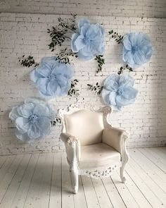 blue paper flowers backdrop wedding