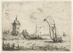 Bonaventura Peeters (I) | Havengezicht met een uitkijktoren, Bonaventura Peeters (I), 1624 - 1652 |