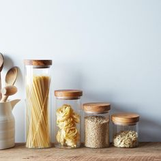 30 Glass Jars for Storing Pantry Essentials Whether you have open shelving or an envy-inducing walk-in pantry, one thing that every kitchen needs is a good glass jar or canister. From storing baking supplies like flour and sugar, to housing bulk grains li Kitchen Jars, Glass Kitchen, Kitchen Pantry, Kitchen Ideas, Kitchen Design, Kitchen Stuff, Kitchen Inspiration, Kitchen Storage, Baking Supplies