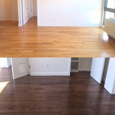 Before and after NYC floor pro sanded and re-stained