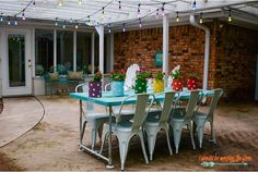 Colorful Café Lights add character and eye candy to your outdoor entertaining space. Colorful Cafe, Patio Makeover, Outdoor Entertaining, String Lights, Outdoor Lighting, Lighting Design, Light Colors, Eye Candy, Table Decorations