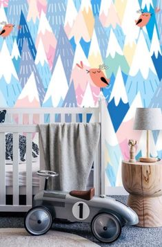 Baby Boy Nursery Wallpaper Peel & Stick Mountain Wallpaper Remove Wall Mural Kids Wall Paper Remove Mural Wallpaper Animal Childrens Room - Tapet-Show - Re-Wilding Old Wallpaper, Nursery Wallpaper, Baby Boy Rooms, Baby Boy Nurseries, Room Baby, Nursery Bookshelf, Kids Wall Murals, Mountain Wallpaper, Thing 1