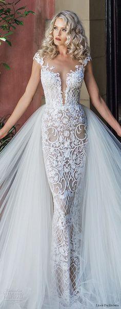 leah da gloria 2017 bridal cap sleeves deep plunging sweetheart neckline full embellishment glamorous sheath wedding dress a line overskirt chapel train (audrey) zv