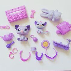 Littlest Pet Shop Collar Necklace Scooter Toys Food PURPLE ACCESSORIES Lot HTF #Hasbro