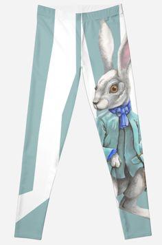 Follow the White Rabbit on Leggings by Imogen Smid - Redbubble, Fun Fashion Design, The White Rabbit, Alice in Wonderland, Blue Leggings, Wonderland Fashion