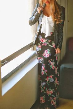 see more Amazing Flower Patterned Maxi Skirt with White Blouse and Stylish Jacket