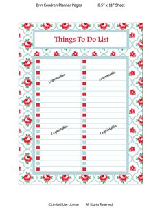 Printable planner-Things To Do List-Erin Condren planner-planner insert-life planner-cute planners- planners-INSTANT DOWNLOAD