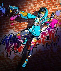 Graffiti Tracer by burburart.deviantart.com on @DeviantArt - More at https://pinterest.com/supergirlsart #overwatch #fanart