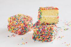 Combining two iconic Australian treats, these colourful fairy bread lamingtons will be a hit with kids and adults alike. (Rainbow Bread)