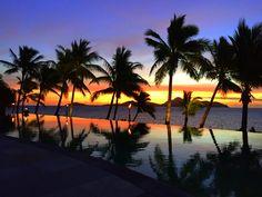 Luxury Travel - The most beautiful beach sunset ever overlooking the inifinity pool at Tokoriki Island Resort, Fiji @instyleti Instyle Travel International #sunset #fiji #luxurytravel