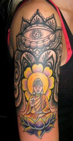 MY beautiful custom tattoo by Evan Vittatoe #tattoo #buddha