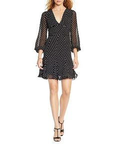 A keyhole at the center back adds unexpected allure to this silk georgette dress, while a polka-dot print accentuates its timeless yet playful style. Sheer bell sleeves complete the feminine look.