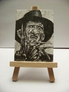 ACEO HORROR MOVIE CLASSICS: FREDDY KRUEGER Sketch Card ORIGINALS by MIRACLE A.