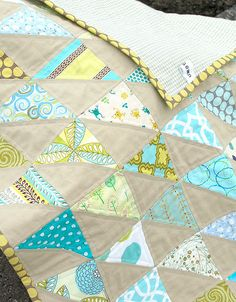 "Gavin said he wants a ""Triangle"" quilt. So cute love the gray with the blue. much more durable than white!"