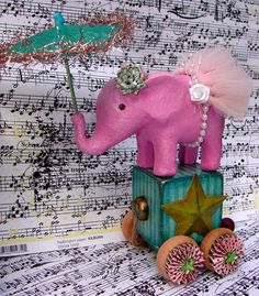 c854df9e35b96e flippin' cute Circus Crafts, Circus Art, Pink Elephant, Vintage Elephant,  Elephant