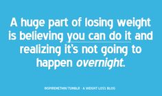 Be real with yourself. You didn't get to where you are overnight. Losing the weight won't happen overnight either. Www.facebook.com/cassiezeider