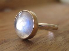 Beautiful Rainbow Moonstone Ring with 14K gold and Sterling