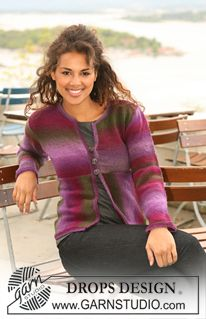"""DROPS jacket in """"Delight"""" - knitted in different directions. Size S - XXXL. ~ DROPS Design"""