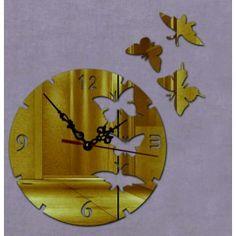 Moderné nalepovacie hodiny let motýľa , farba zlatá .