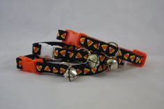 Candy Corn on Black  Breakaway Adjustable Cat by TheEmPURRium