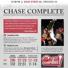 The day history was made in college football! College Football Playoff, Ohio State Football, Ohio State University, Ohio State Buckeyes, Football Season, Championship Game, National Championship, Football Newspaper, Signed Sealed Delivered
