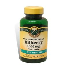 Spring Valley Softgels Bilberry by Spring Valley. $3.05. Bilberry Plus Lutein nutritionally supports healthy visual function. Bilberry fruit naturally contains a unique class of bioflavonoids called anthocyanosides. Lutein is a carotenoid found in leafy green vegetables, such as spinach, and promotes healthy visual function.