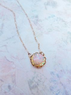 Vintage Glass Fire Opal Necklace  14K Gold by HangingByAThreadKids, $33.00