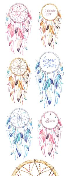 This set of 9 high quality hand drawn Dreamcatchers in High Resolution. Perfect graphic for wedding invitations, greeting cards, frames, posters,